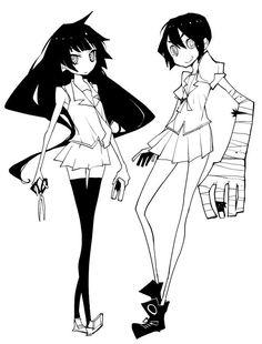 Senjougahara and monkey girl Manga Art, Anime Manga, Anime Art, Baguio, Manga Characters, Female Characters, Manga Drawing Tutorials, Monogatari Series, Human Art