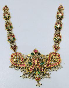 vintage antique 20 ct solid gold NECKLACE kundan meena polki diamond necklace