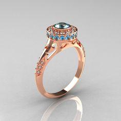 Modern Antique 14K Rose Gold Aquamarine Diamond Wedding Ring, Engagement Ring R191-14KRGDAQQ on Etsy, $1,198.64 CAD
