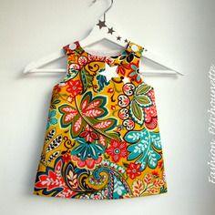 "Robe ""ines"" 6-36 mois,évolutive,multicolore,fleurs,robe trapèz,coton"