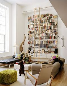 My idea of a perfect home would have the living room/office/bedroom covered in bookshelves. I adore bookshelves. Library Ladder, Library Wall, Mini Library, Eclectic Living Room, Living Spaces, Eclectic Decor, Living Area, Sweet Home, Decoration Originale