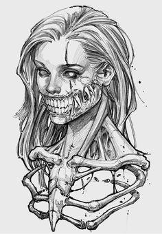 Trippy Drawings, Dark Art Drawings, Art Drawings Sketches, Tattoo Drawings, Dark Art Tattoo, Skeleton Art, Creepy Art, Dark Fantasy Art, Skull Art
