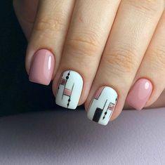 Make an original manicure for Valentine's Day - My Nails Pink Gel Nails, Nude Nails, Acrylic Nails, Gelish Nails Summer, Nailed It, Geometric Nail Art, Nagel Gel, Stylish Nails, Square Nails