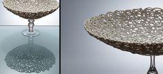 "Antonella Cimatti ____"" Renaissance crespine ""   Series Title: crespine      Date: 2007    Technique: Slip Cast    Temperature: 1260 C oxidation    Glazing / Surface Treatment: none    Material: porcelain paperclay     Object Type: Porcelain Bowl    Height: 17    Width: 27    Depth: 27"