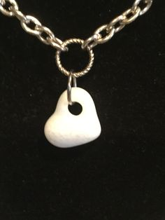 Fused glass white heart toggle necklace
