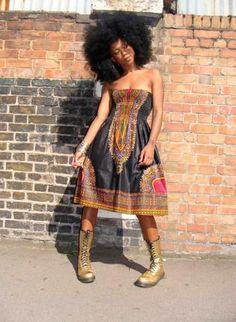 BLACK DASHIKI DIVA SUN DRESS S/M,  Dress, AFRICAN PRINT  ANKARA  SUN DRESS  STRAPLESS, MODERN AFRICAN