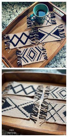 Crochet Home Decor, Crochet Crafts, Yarn Crafts, Free Crochet, Diy Crochet Rug, Diy Crochet Projects, Crochet Decoration, Crochet Coaster Pattern, Mug Rug Patterns