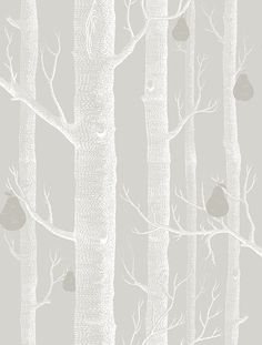 Woods and Pears White & Soft Grey wallpaper by Cole & Son