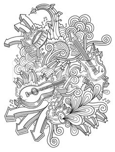 music doodles royalty-free stock vector art --> If you're in the market for the most popular coloring books and supplies including colored pencils, gel pens, watercolors and drawing markers, go to our website at http://ColoringToolkit.com. Color... Relax... Chill.