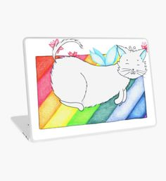 White Rainbow Fairy Cat Laptop Skin Macbook Pro Retina, Macbook Air, Rainbow Fairies, Surface Laptop, White Rainbow, Laptop Decal, Laptop Skin, Kitten, Fairy