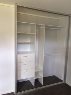 This wardrobe looks really nice and clean!  It would be so much easier to organize my clothes if I could have drawers and shelves in my closet.  Plus, it would make it easier for me to keep the bedroom less cluttered.