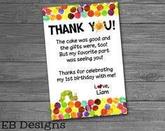 Hungry Caterpillar Thank You Note by ElaineBallDesigns on Etsy