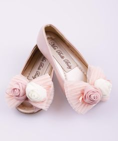 Look at this Pink Lace Rosette Peep-Toe Ballet Flat on #zulily today!