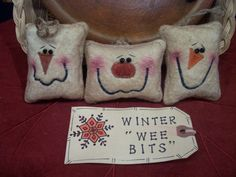 Primitive Whimsical Country WinterTime ICE CUBE SNOWMAN by jobug54, $14.00