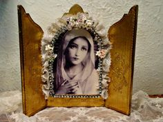 Virgin Mary  Blessed Mother Triptych  Vintage by EdenCoveTreasures, $38.00