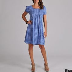 @Overstock - This vibrant polka dot A-line dress features a pleated front and sleeve. Composed of 100-percent rayon, the comfortable dress sports capped sleeves, a scoop neck and a simple pull-over closure.http://www.overstock.com/Clothing-Shoes/La-Cera-Womens-Short-Sleeve-Dress-With-Pleated-Front-and-Sleeve/7026481/product.html?CID=214117 $48.99