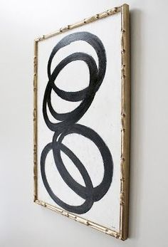 AM Dolce Vita: Foyer DIY Abstract Art, DIY Black White Abstract Art, Regency Faux Bamboo Frame in Champagne