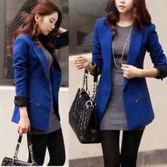 Nova moda 2014 mulheres zíper de cor bolso grandes lapela terno slim mulheres blazers e jaquetas US $29.00