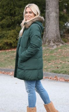 @audreymcclellan from Mom Generations in her J.Jill highland park long down puffer jacket.