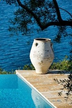 Mediterranean garden with pool and sea view - olive jar