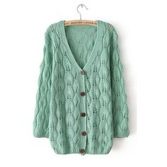 Autumn New Slim V neck Hollow Women Cardigan ($39) ❤ liked on Polyvore featuring tops, cardigans, sweaters, jackets, vneck tops, green top, slimming tops, v-neck tops and slim fit cardigan