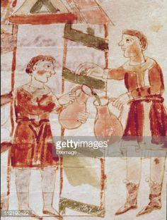 Fine art : Wine Merchant. Miniature from De Universo (De Rerum Naturis), by Rabanus Maurus Magnentius a.k.a Rabanus Maurus (c.780_856). 9th century. Archives of the Abbey of Montecassino, Montecassino, Italy