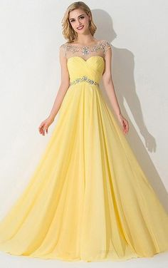 A-Line/Princess Sleeveless Bateau Chiffon Ruched Sweep/Brush Train Dresses - Prom Dresses 2016 - Prom Dresses Prom Dresses 2016, Elegant Prom Dresses, Prom Dresses With Sleeves, Best Wedding Dresses, Pretty Dresses, Beautiful Dresses, Yellow Prom Dresses, Disney Prom Dresses, Prom Dresses Long Modest