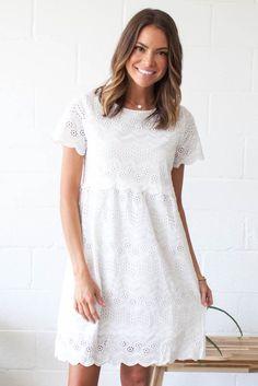 White Eyelet Dress – b ö h m e Grad Dresses, Dress Outfits, Casual Dresses, Fashion Dresses, Short Sleeve Dresses, Summer Dresses, White Boho Dress, White Eyelet Dress, Lace Dress