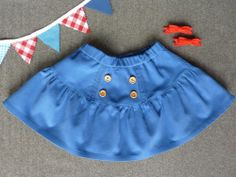 Popeline&co. Jupe de velour milleraies bleue, face avant