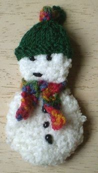 Advent Garland 16, Snowman-This pattern is available as a free Ravelry download. This is a decoration for my Advent Garland. The snowman is knitted in a textured double knitting yarn; his hat and scarf are in 4 ply.