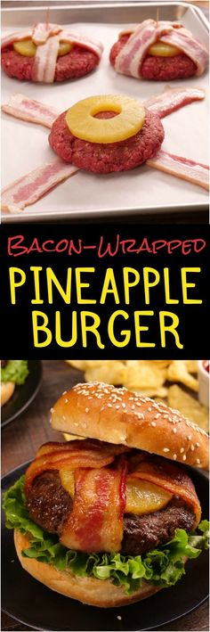 """You know what they say: """"Good things come in bacon-wrapped packages."""" This sweet & smoky BBQ burger topped with caramelized pineapple is such a good thing."""