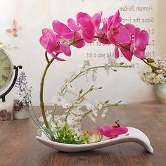 蝴蝶兰仿真花艺套装欧式假花盆栽摆设婚庆干花瓶客厅餐桌玄关摆件