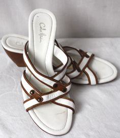 COLE HAAN Womens Sandals Strappy LeatherWedge Slip-On Heels Brown White Size 7.5…