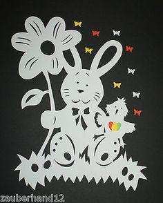 Fensterbild, Hase mit Blume,Tonkarton,filigranes,Deko,Frühling,Ostern,filigran