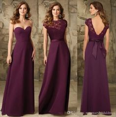 http://www.dhgate.com/product/chic-grape-chiffon-long-bridesmaids-dresses/269584942.html#s36-7-1b;searl|2473999059 Chic Grape Chiffon Long Bridesmaids Dresses Backless Cheap Bridesmaid Gowns 2 Two pieces top Maid of honor lady Wedding Prom Party Dress