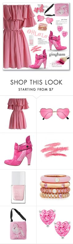 """""""Check Republic - Gingham Dress"""" by markitahamilton3 ❤ liked on Polyvore featuring Chicwish, H&M, Preen, The Hand & Foot Spa, Adolfo Courrier, Spring, Pink, weekend, ginghamdress and offtheshoulder"""