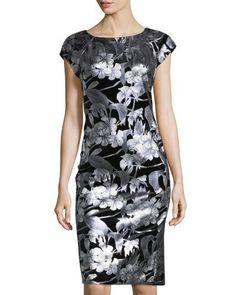 TWETQ Label by 5Twelve Floral Foil Cap-Sleeve Dress