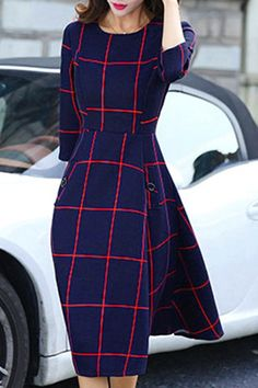 Chic Round Collar 3/4 Sleeve A-Line Plaid Dress For Women