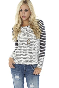 Striped Lace Top $29.99 #sophieandtrey #tops #longsleeves #knits #stripes #lace