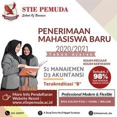 Dibuka Pendaftaran Calon Mahasiswa/i Baru Kampus STIE PEMUDA SURABAYA TA. 2020/2021. Prodi D3 - Akuntansi & S1 - Manajemen. Pendaftaran masih terbuka . Kirimkan pesan ke nomor / bisa langsung datang ke kampus kami. Cek link di bawah ini...! Address : Jl. Bung Tomo,No. 8 Surabaya  Phone : (031) 503 35 98 Fax : (031) 505 70 50Website : www.sti epemuda.ac.id Instagram : @stiepemuda.sby #Kuliahsambilkerja #kuliahkelaskaryawan Surabaya, Website, Memes, Business, School, Instagram, Meme, Store, Business Illustration