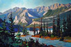 "'Islands on the Athabasca' 40"" x 60"" Acrylic on Canvas by Randy Hayashi"