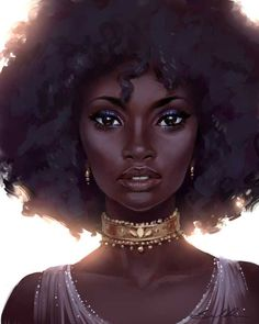 Black girl art, black girls drawing, black girl green eyes, pretty drawings of Black Love Art, Black Girl Art, Beautiful Black Women, Art Girl, Black Girls, Natural Hair Art, Natural Hair Styles, Black Art Pictures, Black Characters