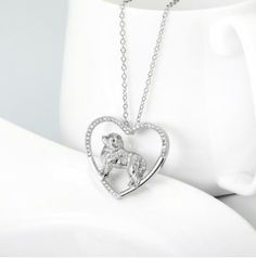 Great Pyrenees Sterling Silver Heart Necklace