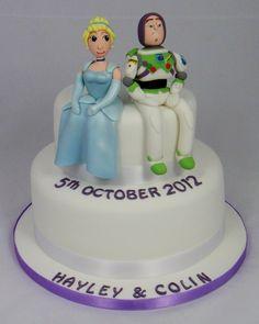 Cinderella & Buzz Light Year Engagement Cake 07917815712 www.fancycakesbylinda.co.uk www.facebook.com/fancycakeslinda