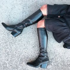 Anora Black Stretch Leather Long Boots, Mid Calf Boots, Knee High Boots, Over The Knee Boots, Winter Collection, Snug, Stretches, Street Style, Heels