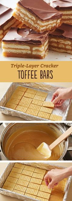Triple-Layer Cracker Toffee Bars These easy caramel and chocolate layered cracker toffee bars are a twist on a traditional cracker toffee. - These easy caramel and chocolate layered cracker toffee bars are a twist on a traditional cracker toffee. Candy Recipes, Sweet Recipes, Holiday Recipes, Dessert Recipes, Recipes Dinner, Bar Recipes, Dessert Ideas, Easy Potluck Desserts, Desserts Menu