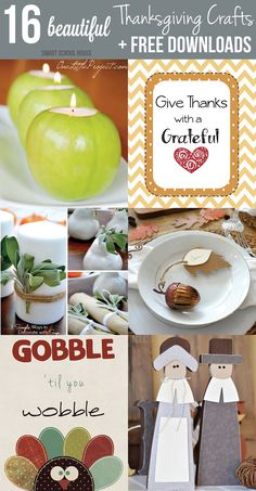 16 Beautiful Thanksgiving Crafts and Free Downloads. So many pretty Thanksgiving ideas here! #thanksgiving #crafts