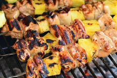 Pineapple Grilled Chicken Kebabs recipe is a delicious sweet and salty combination of marinated chicken and fresh pineapple chunks cooked on a grill. Greek Grilled Chicken, Marinated Chicken, Kebab Recipes, Grilling Recipes, Yummy Recipes, Oven Chicken, How To Cook Chicken, Grilled Pineapple Chicken, Turkey Dishes