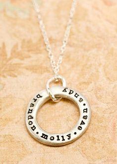 open circle necklace with children/grandchildren's names
