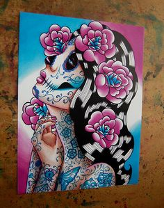 5x7 8x10 or 11x14 in Signed Art Print Dia De Los by NeverDieArt